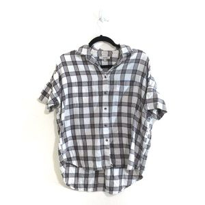 Madewell Courier Flannel Short Sleeve Plaid Shirt